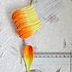 Лепестки желто-оранжевые закругленные большие My Thai материалы для малберри флористики из Таиланда