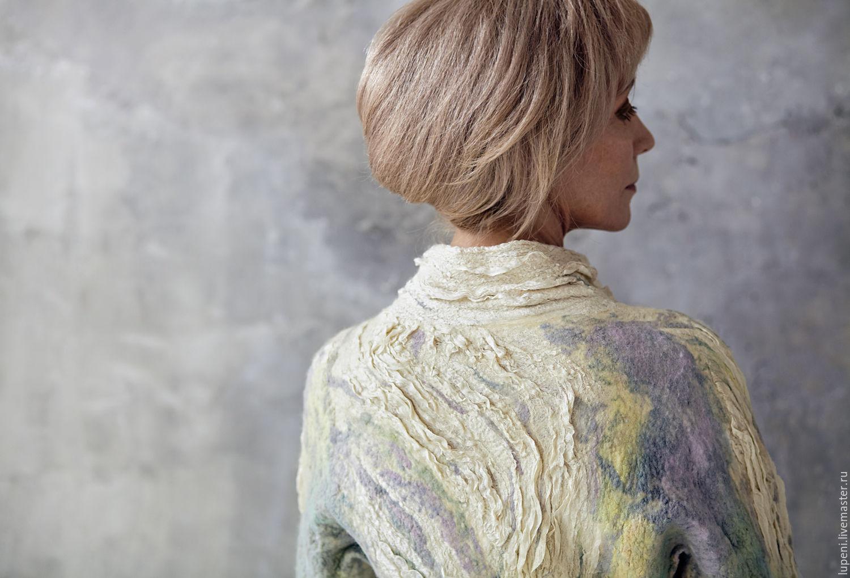 """Пиджаки, жакеты ручной работы. Ярмарка Мастеров - ручная работа. Купить Жакет """"Эльф"""". Handmade. Салатовый, абстрактный, шёлк натуральный"""