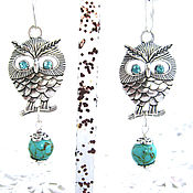 Украшения handmade. Livemaster - original item Turquoise earrings Sue and hibou2