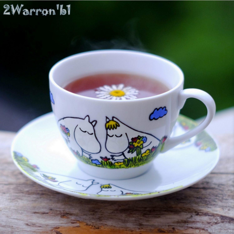 Сервизы, чайные пары ручной работы. Ярмарка Мастеров - ручная работа. Купить Чашка с блюдцем Муми-тролли, ручная роспись. Handmade.
