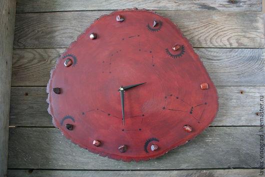 Часы для дома ручной работы. Ярмарка Мастеров - ручная работа. Купить Красные. Handmade. Дизайнерские, из среза, необычный подарок