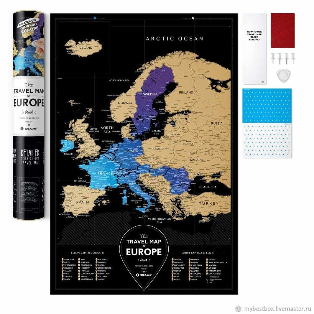 Scratch Map Of Europe Black, Fine art photographs, Moscow,  Фото №1