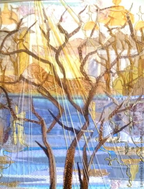 """Пейзаж ручной работы. Ярмарка Мастеров - ручная работа. Купить Панно """"Ностальгия"""". Handmade. Панно на стену, отражение, гостиная, тесьма"""