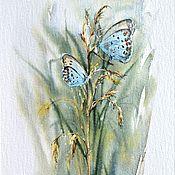 """Картины и панно ручной работы. Ярмарка Мастеров - ручная работа Картина акварелью """"Голубые бабочки на травинке"""". Handmade."""