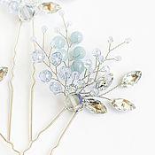 Свадебный салон ручной работы. Ярмарка Мастеров - ручная работа Голубые шпильки для прически. Handmade.