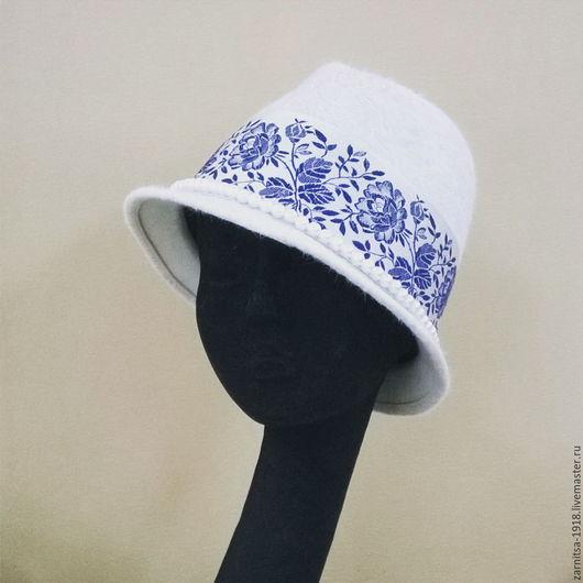 """Шляпы ручной работы. Ярмарка Мастеров - ручная работа. Купить Велюровая шляпка """"Тиролька"""". Handmade. Белый, тиролька, шляпа"""