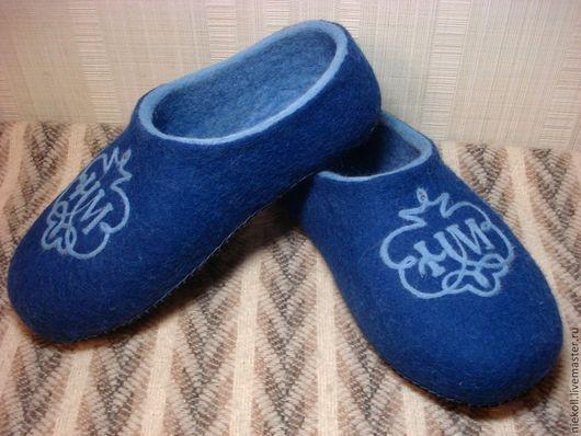 """Обувь ручной работы. Ярмарка Мастеров - ручная работа. Купить Домашние тапочки """"Заветный вензель"""". Handmade. Синий"""
