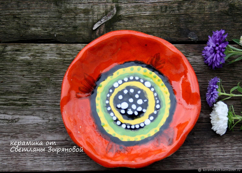 """Тарелки ручной работы. Ярмарка Мастеров - ручная работа. Купить Тарелка """"Оранжевый  мак"""". Керамика .Ручная работа. Handmade. Керамика"""