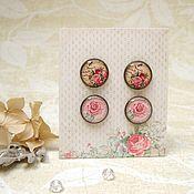 Украшения handmade. Livemaster - original item Vintage stud Earrings Bee and Roses Delicate Pink rose Boho Style. Handmade.