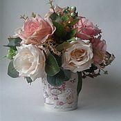 """Композиции ручной работы. Ярмарка Мастеров - ручная работа Интерьерная композиция с розами в стиле """"шебби"""".. Handmade."""
