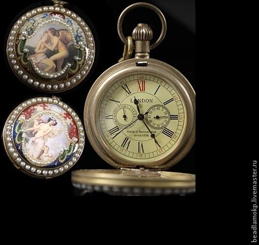 Винтажные украшения. Ярмарка Мастеров - ручная работа. Купить Винтажные часы карманные механические. Handmade. Разноцветный, механические часы