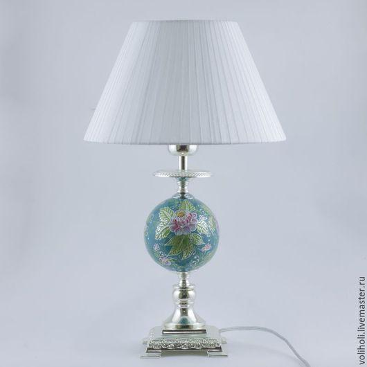 Освещение ручной работы. Ярмарка Мастеров - ручная работа. Купить Настольная лампа Пионы на бирюзе. Handmade. Настольная лампа
