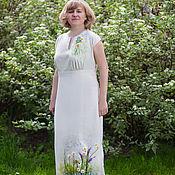 Одежда ручной работы. Ярмарка Мастеров - ручная работа Платье Ромашковое Лето лен валяние, ручная вышивка. Handmade.
