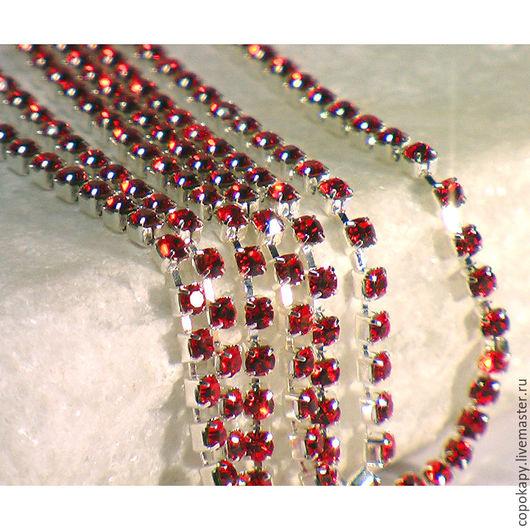 Для украшений ручной работы. Ярмарка Мастеров - ручная работа. Купить 31/103 Стразовая лента-2мм(красный). Handmade. Ярко-красный