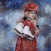 Pictures handmade. Livemaster - original item Picture pastel Snowfall (ice skates girl winter landscape). Handmade.