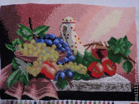 Натюрморт из фруктов и бокала вина Вышила Lena