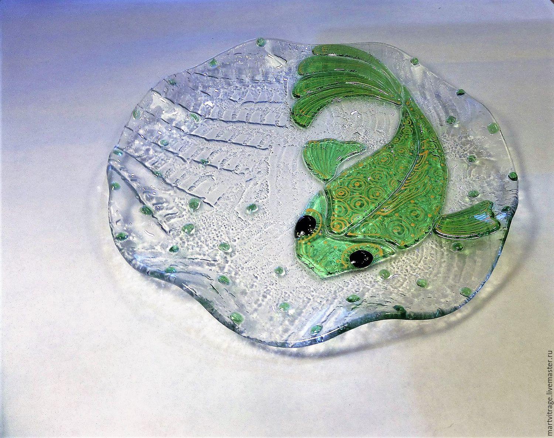 """Круглая тарелка с волнистым краем """"Рыбка..."""" Стекло.Фьюзинг, Тарелки, Москва, Фото №1"""