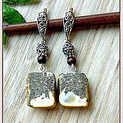 """Украшения handmade. Livemaster - original item Янтарь. Серьги """"Серенький волчок""""  янтарь серебро дерево. Handmade."""