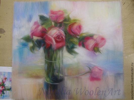 Картины цветов ручной работы. Ярмарка Мастеров - ручная работа. Купить Розы 40х45. Handmade. Разноцветный, пастель, нежность, букет