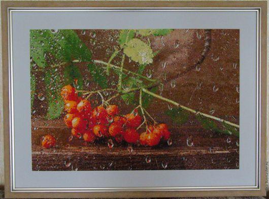 """Натюрморт ручной работы. Ярмарка Мастеров - ручная работа. Купить Вышитая картина """"Рябинка"""". Handmade. Вышитая картина, осень"""