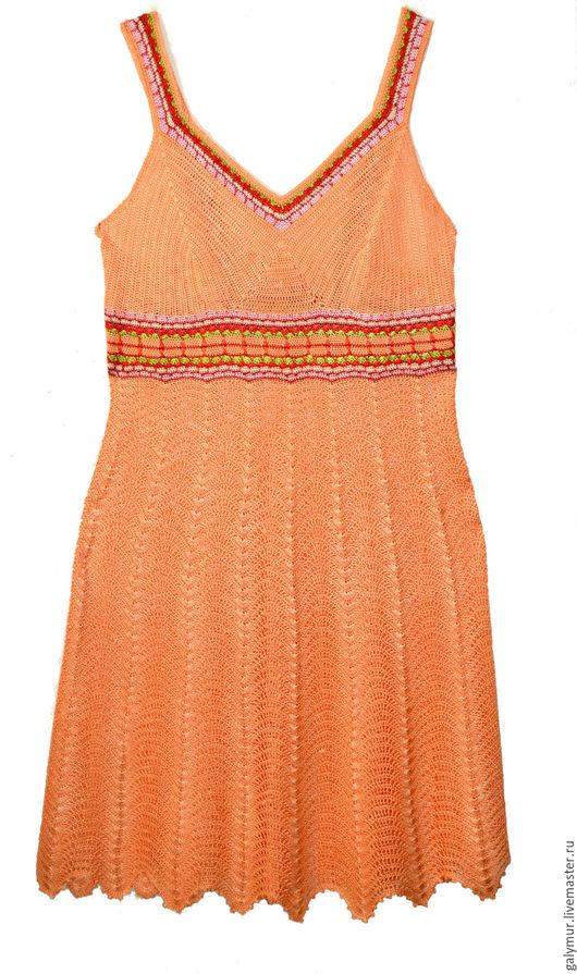 """Платья ручной работы. Ярмарка Мастеров - ручная работа. Купить Летний сарафан из вискозы цвета """"Лосось"""". Handmade. Комбинированный, лососевый"""