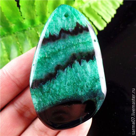 Для украшений ручной работы. Ярмарка Мастеров - ручная работа. Купить Агат с друзой камень кулон подвеска черно-зеленый 5. Handmade.