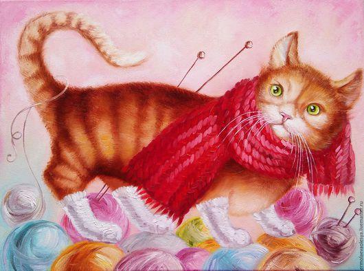 Картина с котиком в носочках ручной работы. Скоро зима. Ермолаева Олеся. Ярмарка  мастеров - картина маслом. Handmade.