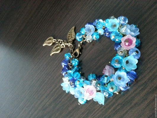 """Браслеты ручной работы. Ярмарка Мастеров - ручная работа. Купить браслет """"нежность"""". Handmade. Голубой, браслет для девочки, подарок"""