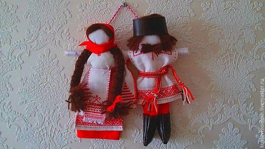 Народные куклы ручной работы. Ярмарка Мастеров - ручная работа. Купить Свадебные куклы Неразлучники. Handmade. Красный, семейный оберег