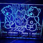 Подарки к праздникам ручной работы. Ярмарка Мастеров - ручная работа Сувенир с подсветкой. Мишки у дерева. Handmade.