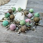 Украшения handmade. Livemaster - original item Bracelet on a Chain with Textile Beads Pink Green Gray Boho. Handmade.