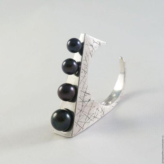"""Кольца ручной работы. Ярмарка Мастеров - ручная работа. Купить Кольцо """"Эффект погружения"""". Handmade. Черный жемчуг, оригинальное кольцо"""