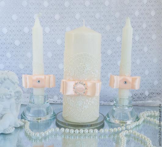Свадебные свечи для семейного очага ручной работы в персиковом цвете купить