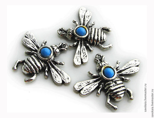 Подвеска Пчела, античное серебро