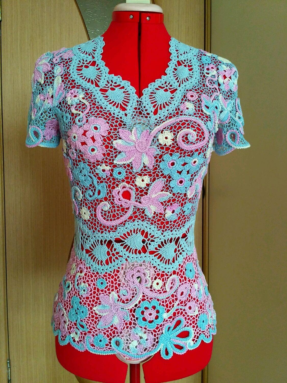 Кофты и свитера ручной работы. Ярмарка Мастеров - ручная работа. Купить 1.Кофточка летняя в розово-голубых тонах. Handmade.