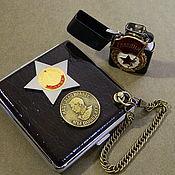 Сувениры и подарки handmade. Livemaster - original item Cigarette case for 20,30 cigarettes with the image of symbols of the Soviet period. Handmade.