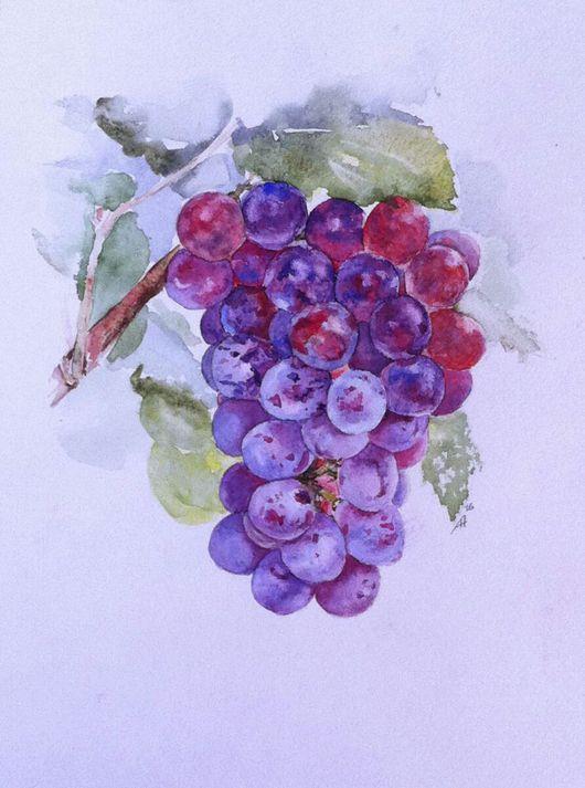 Натюрморт ручной работы. Ярмарка Мастеров - ручная работа. Купить Виноград. Handmade. Картина акварелью, виноград, гроздь винограда, акварель