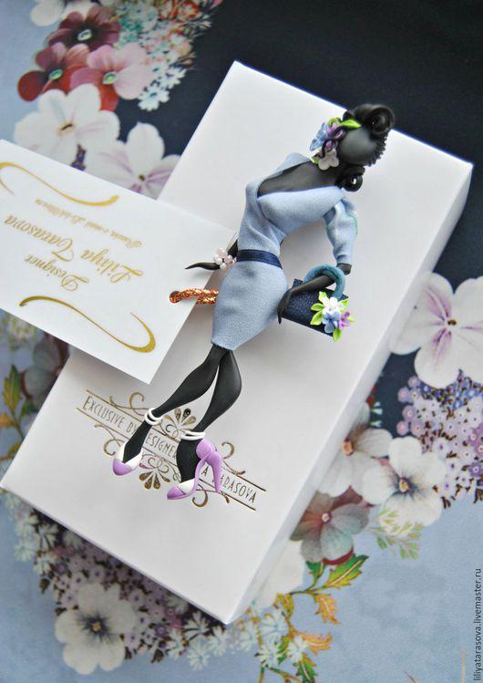 """Броши ручной работы. Ярмарка Мастеров - ручная работа. Купить комплект: брошь"""" Надежда"""",платок. Handmade. Голубой, оригинальный подарок"""