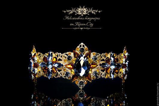 """Диадемы, обручи ручной работы. Ярмарка Мастеров - ручная работа. Купить Тиара-корона для волос """"Царица Персии""""  в стиле D & G ободок золотой. Handmade."""