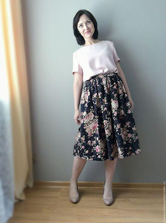 Юбки ручной работы. Ярмарка Мастеров - ручная работа. Купить Летняя юбка. Handmade. Черный, юбка с розами, летняя юбка
