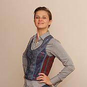 Одежда ручной работы. Ярмарка Мастеров - ручная работа жилет валяный синий женский. Handmade.