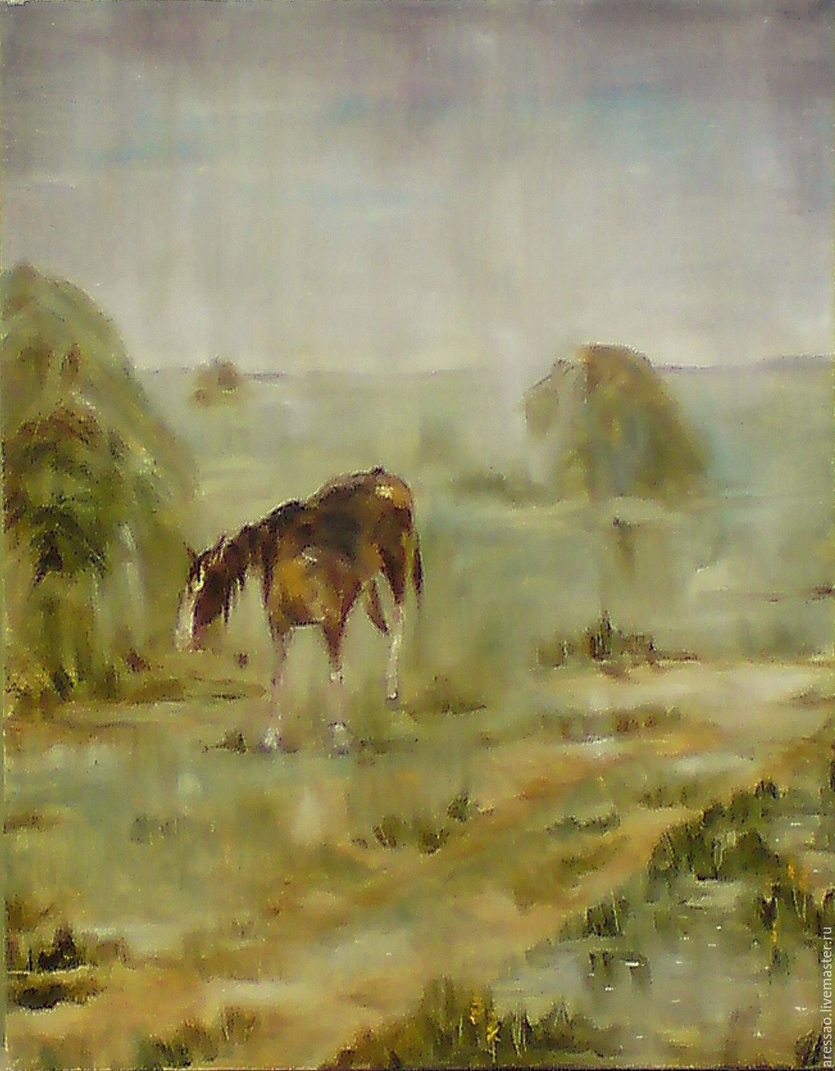 The Painting 'Rain. The wet horse', Pictures, Moscow, Фото №1