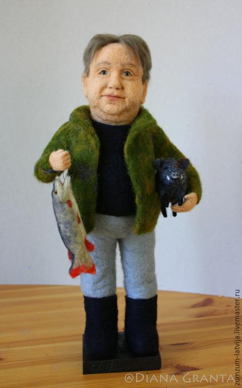 Портретные куклы ручной работы. Ярмарка Мастеров - ручная работа. Купить Портретная кукла Рыболов-охотник. Handmade. Хаки, охота