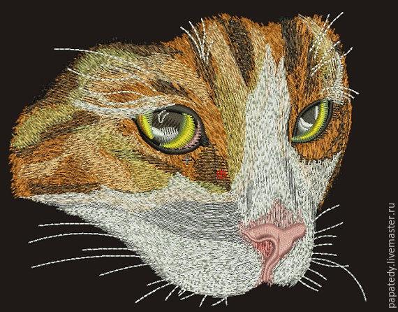 дизайн машинной вышивки котик