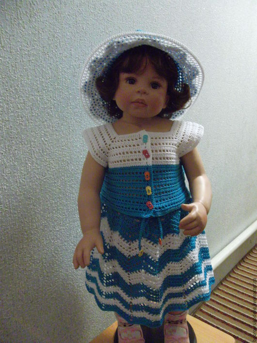 Одежда для девочек, ручной работы. Ярмарка Мастеров - ручная работа. Купить костюм для девочки Морской. Handmade. Синий, топик летний