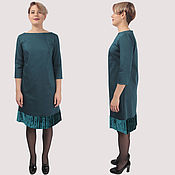 Одежда handmade. Livemaster - original item Dress turquoise cotton with a frill of velvet at the bottom. Handmade.