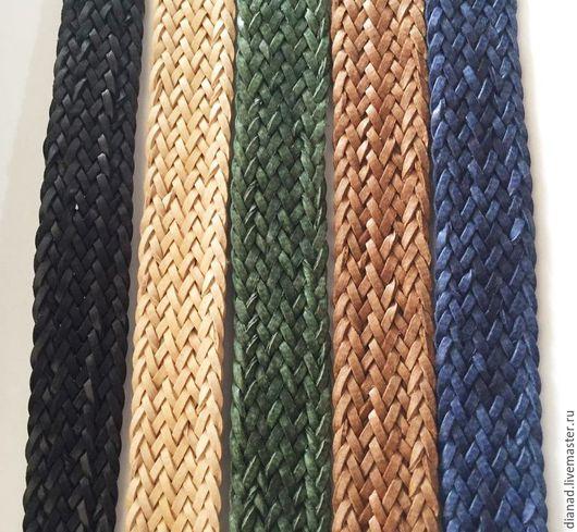 Для украшений ручной работы. Ярмарка Мастеров - ручная работа. Купить Кожаный плоский плетеный шнур, 17х2мм. Handmade. Коричневый