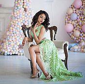 Одежда ручной работы. Ярмарка Мастеров - ручная работа Нежно-зеленое  платье-конструктор со шлейфом. Handmade.