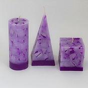 Свечи ручной работы. Ярмарка Мастеров - ручная работа Свечи: Коплект Фиолетовый мрамор. Handmade.