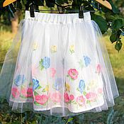 Одежда детская handmade. Livemaster - original item Lush dressy white skirt for girls with embroidered flowers. Handmade.